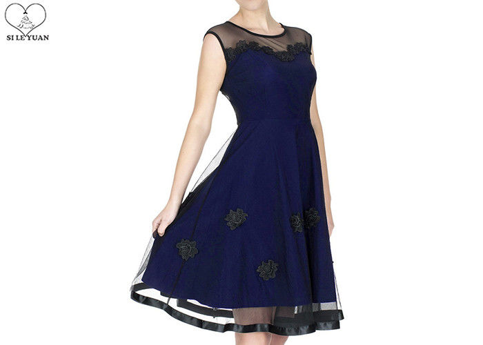 Short Navy Blue Bridesmaid Dresses Satin Lace Flower Two Layers Transparent Tulle