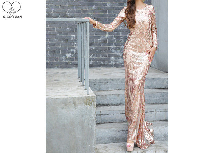 Long Sleeve Gold Sequin Mermaid Prom Dress Special Sequins Fabric Zipper No Tail